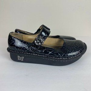 Alegria Mary Jane Shoes Black Crackle Patent 38